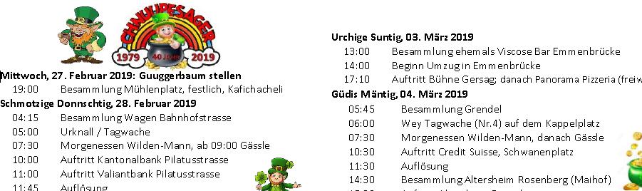 Fasnachts-Programm 2019